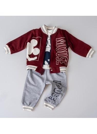 POKY Baskılı Şık Tasarım Yeni Sezon Erkek Bebek Çocuk 3'Lü Takım-13209 Bordo